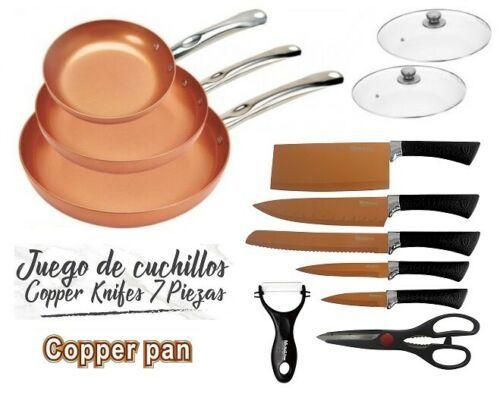 3 'S jeu casseroles 2 capuchons couteaux ciseaux couleur cuivre cuivre PAN FIT four