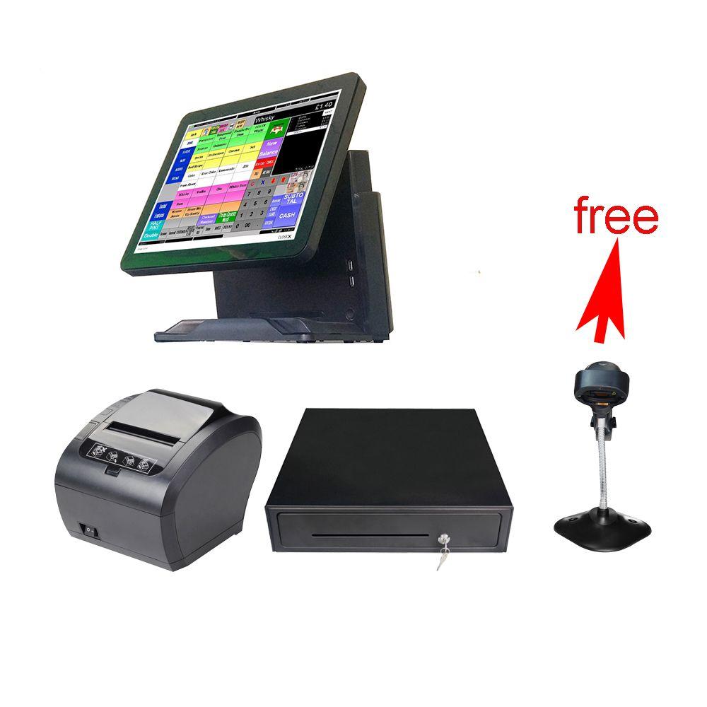 Ganze set 15 ''Kommerziellen POS Point Of Sales ALLE IN EINEM für einzelhändler mit bargeld schublade POS system für freies scanner