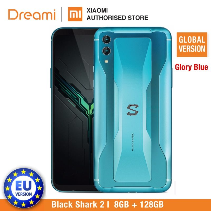 Schwarz Shark 2 128GB Rom 8GB Ram Schatten Schwarz/Herrlichkeit Blau (Marke Neue und Versiegelt Box) blackshark 2 128