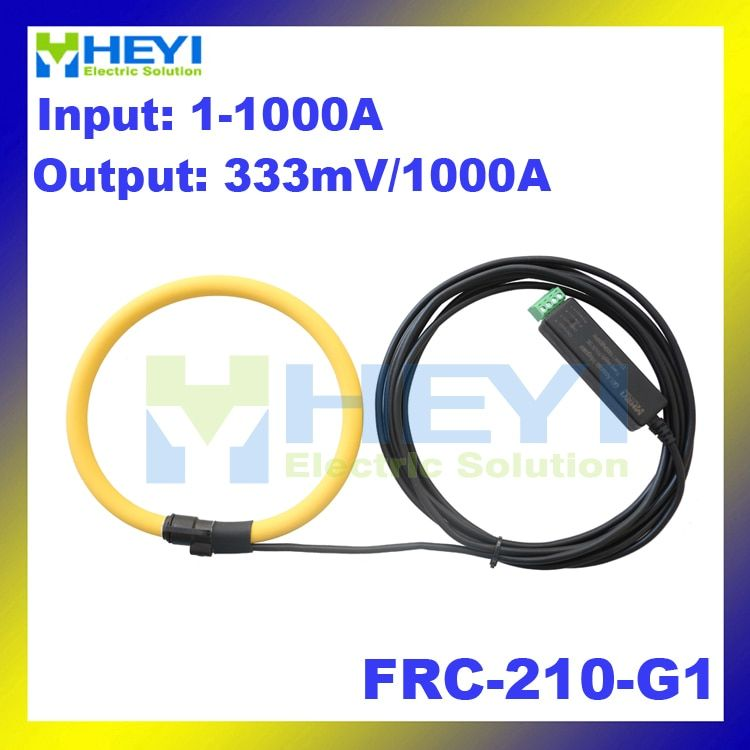 Yellow color Rogowski Sensor Input : 1~1000A Output : 333mV FRC-210-G1 rogowski current transducer