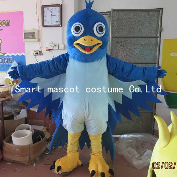 happy blue bird mascot costume adult bird costume