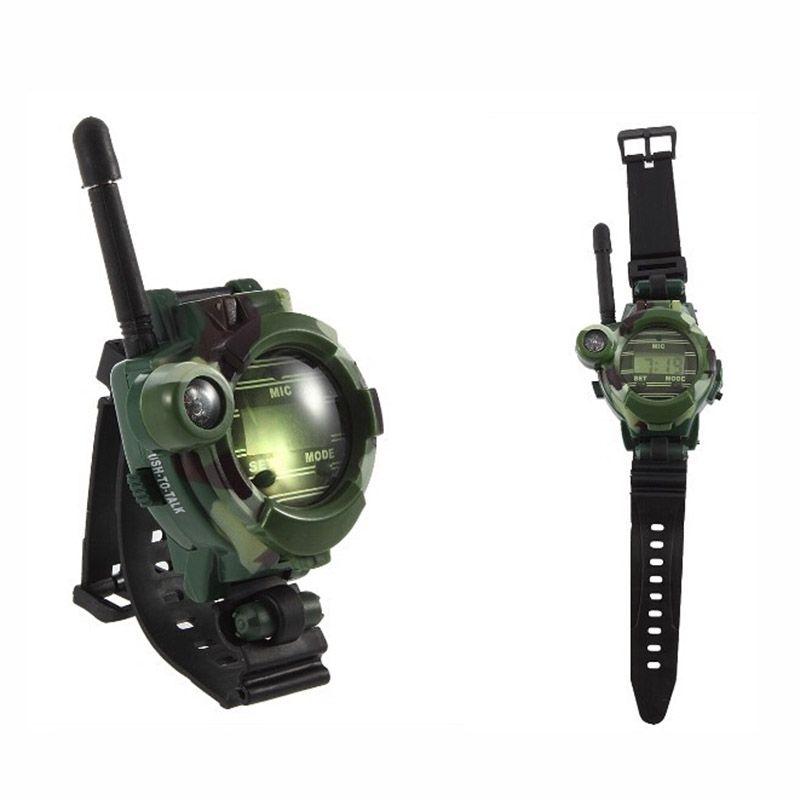 2 PCS Talkie Walkie Jouets Enfants Style Militaire Montre-Bracelet Multi-fonctionnelle à Deux Voies Radio Jouet avec Boussole Loupe réflecteur