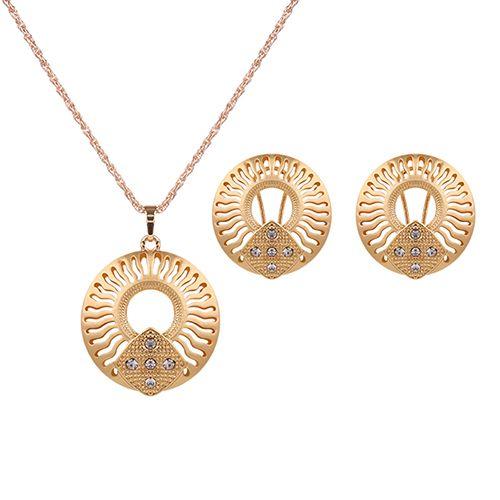 Elegant Shiny Rhinestone Hollow Round Circle Necklace Stud Clip Earrings Set