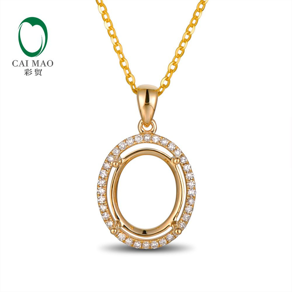 14kt Yellow Gold Oval 7x9mm Real Diamond Engagement Semi Mount Unique Pendant Setting