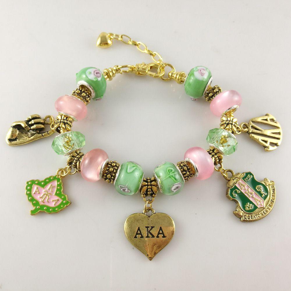 AKA Rose Vert or Charmes Bracelet Alpha Kap Alpha Sorority or Bijoux bracelet livraison gratuite