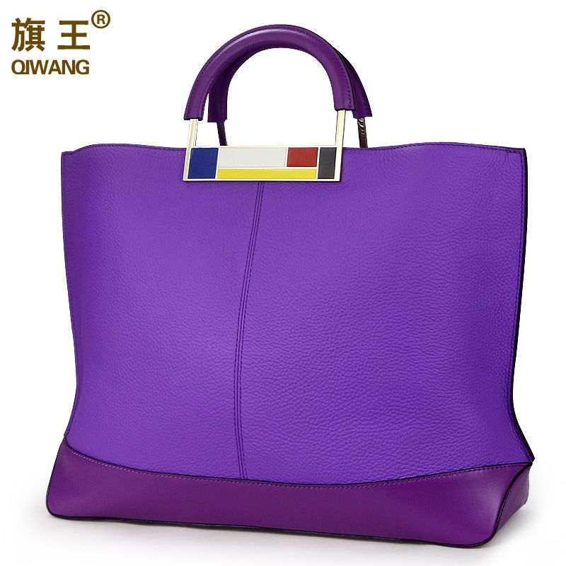 Qiwang Flag Metal Large Tote Bags Purple European Brand Designr Real Leather Women Handbags Roomy Big to Holder Laptop Easy