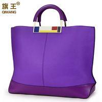 Qiwang bandera Metal grandes bolsos de mano púrpura marca europea Designr cuero Real mujeres bolsos espaciosos grandes bolsos para ordenador portátil monedero digno