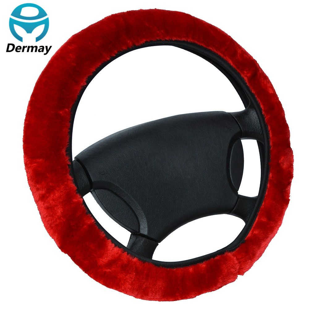 DERMAY Brand High Quality Soft FUR STEERING WHEEL COVER Winter For Car Steering-wheel 14-15