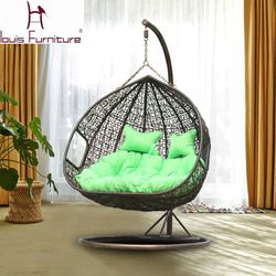 Louis Fashion Swing Cany chair for garden double PE Rattan sofa outdoor Swing Hanging Basket