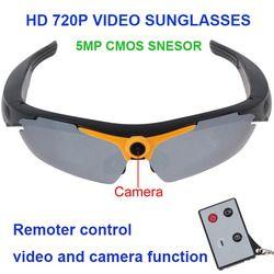 Freeshipping 720P 5MP Camera Video  Remote Controller 170 Degree View Angle Smart Electronics Glass Sunglasses Glasses