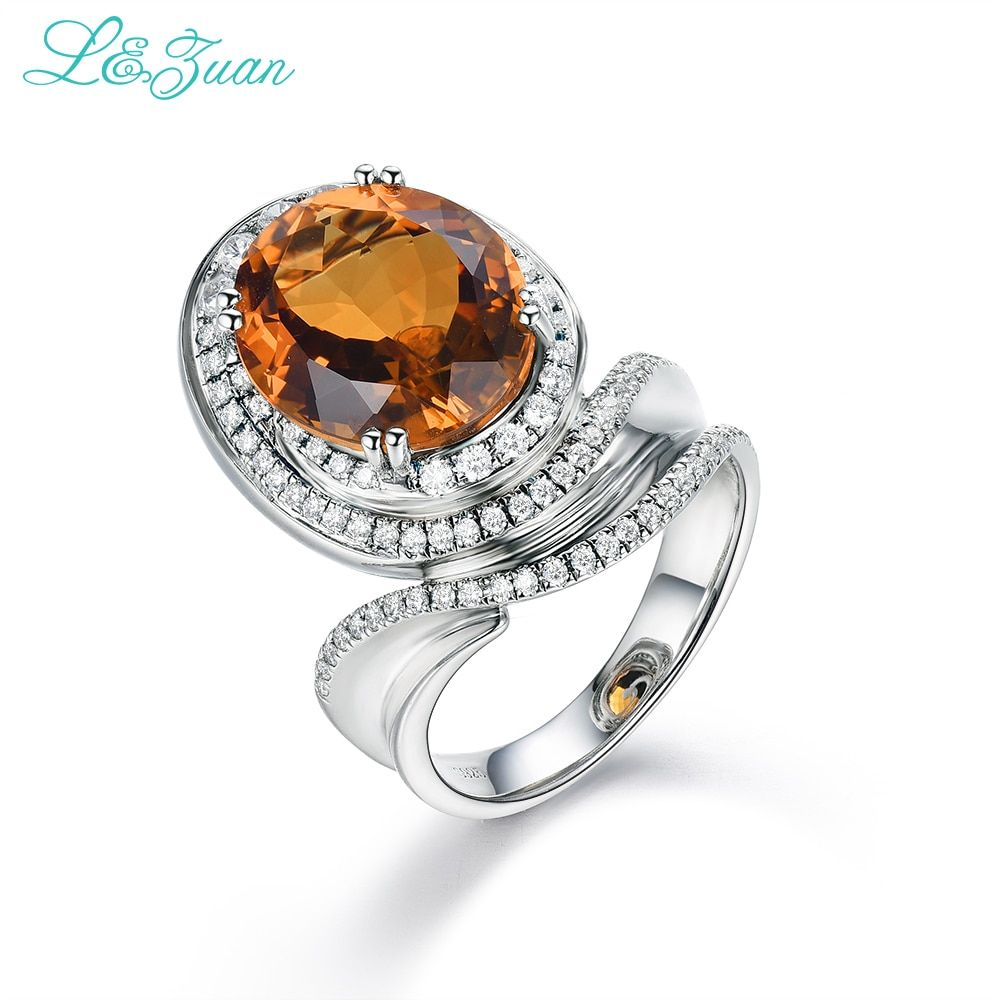 l&zuan 925 Sterling Silver Natural Citrine Yellow Stone Prong Setting Elegant Ring Fashion Jewelry for Women Wedding Gift 1062