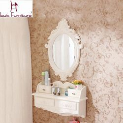 European-style wooden wall hanging dresser european-style mini cosmetic mirror small family model bedroom dresser pure handmade