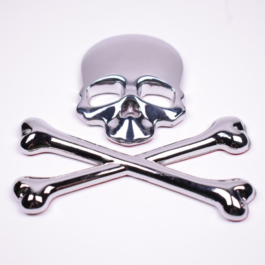 Metal 3D Skull Skeleton Crossbones Car Motorcycle Sticker Emblem Badge Styling Stickers Accessory for All Car Body Decoration