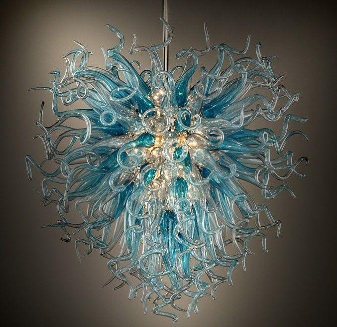 New 2016 AC 110/120/220/240V Beautiful LED Bulbs Hand Blown Murano Glass Chandelier Ceiling