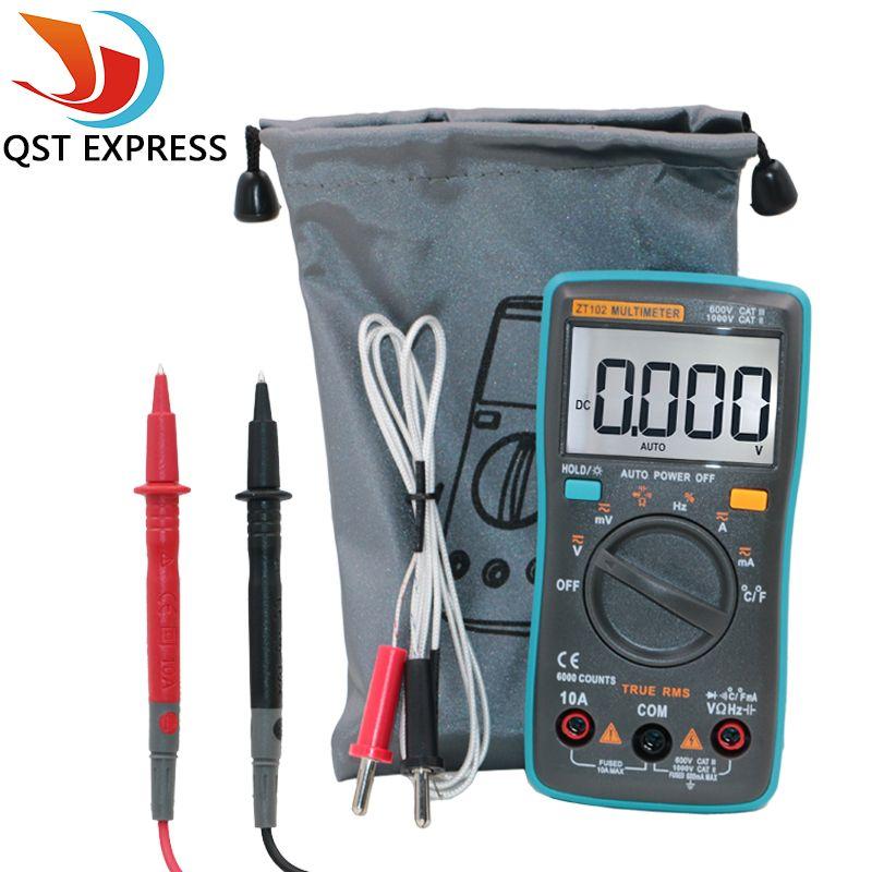 QSTEXPRESS ZT102 Multimètre 6000 compte Retour lumière AC/DC Ampèremètre Voltmètre Ohm Fréquence Diode Température