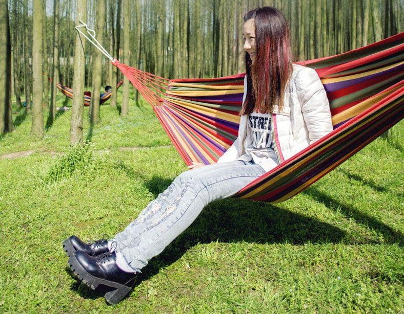 LEMOCHIC Summer Portable Outdoor picnic Garden Hammock Hang Travel Camping Swing Canvas Stripe mat sleeping bed Parachute Fabric