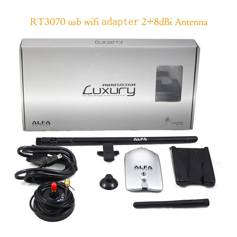 KuWFi Alfa AWUS036NH Wireless USB Wifi Adapter 150Mbps RT3070L High Power Alfa Luxury USB Wifi Adapter With 8dBi+2dBi <font><b>Antennas</b></font>