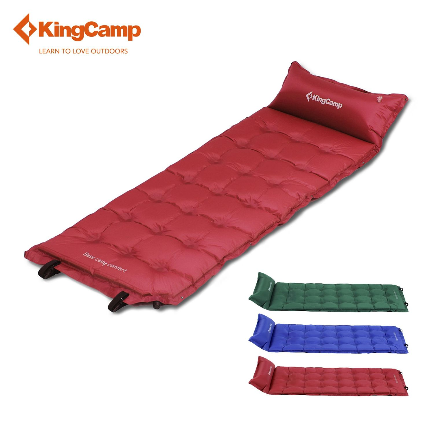 KingCamp Comfort Self-Inflating Camping Mat with Attached Pillow for Hiking Backpacking Sleeping Mats Mattress Green/Red/Blue