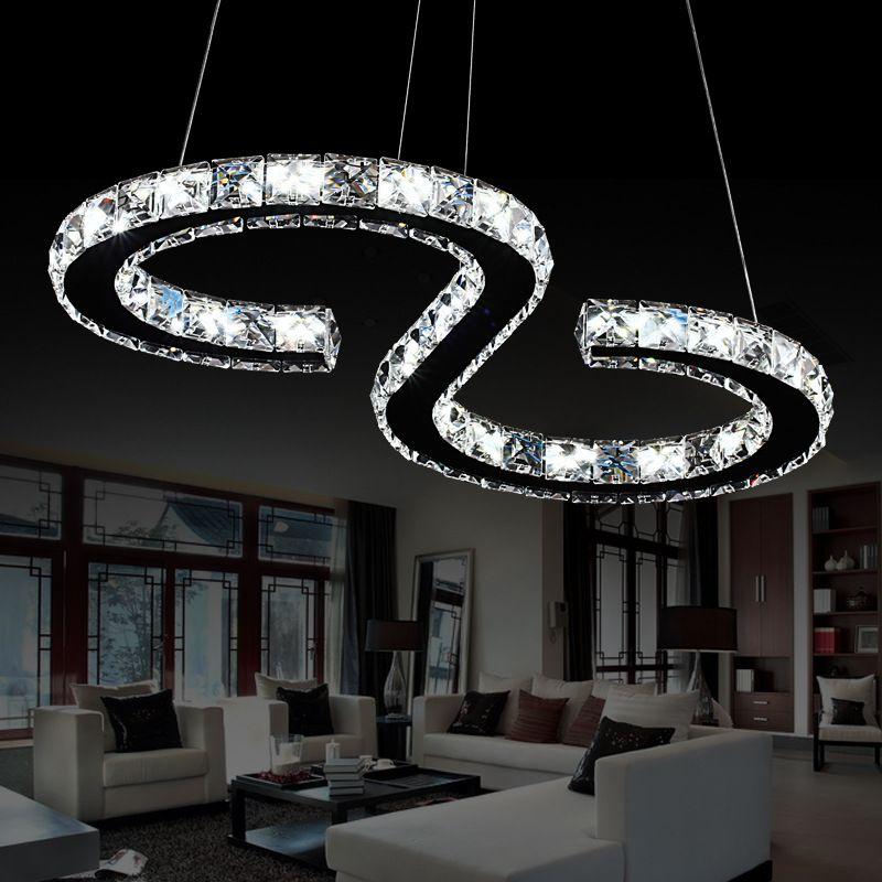 Elinkume Modern Chrome Chandelier Crystals Diamond Ring 24W LED Lamp Stainless Steel Hanging Light Fixtures Adjustable Cristal
