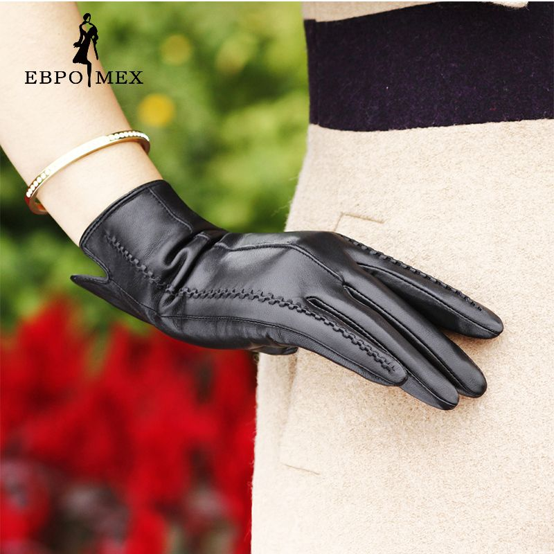 Special <font><b>promotions</b></font> fashion Female gloves,Genuine Leather,Length 25 cm,Black leather gloves,Ladies gloves, winter Women's Gloves