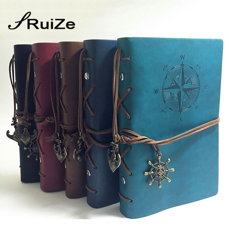 RuiZe Vintage travel journal notebook traveler notebook A5 <font><b>leather</b></font> kraft paper sketchbook diary blank note book 6 ring binder