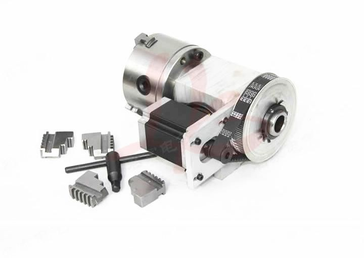 CNC 4th axis ( A aixs, Rotary axis ) with chuck for cnc engraving machine hollow shaft K5M-6-100B 100mm 4 jaw chuck