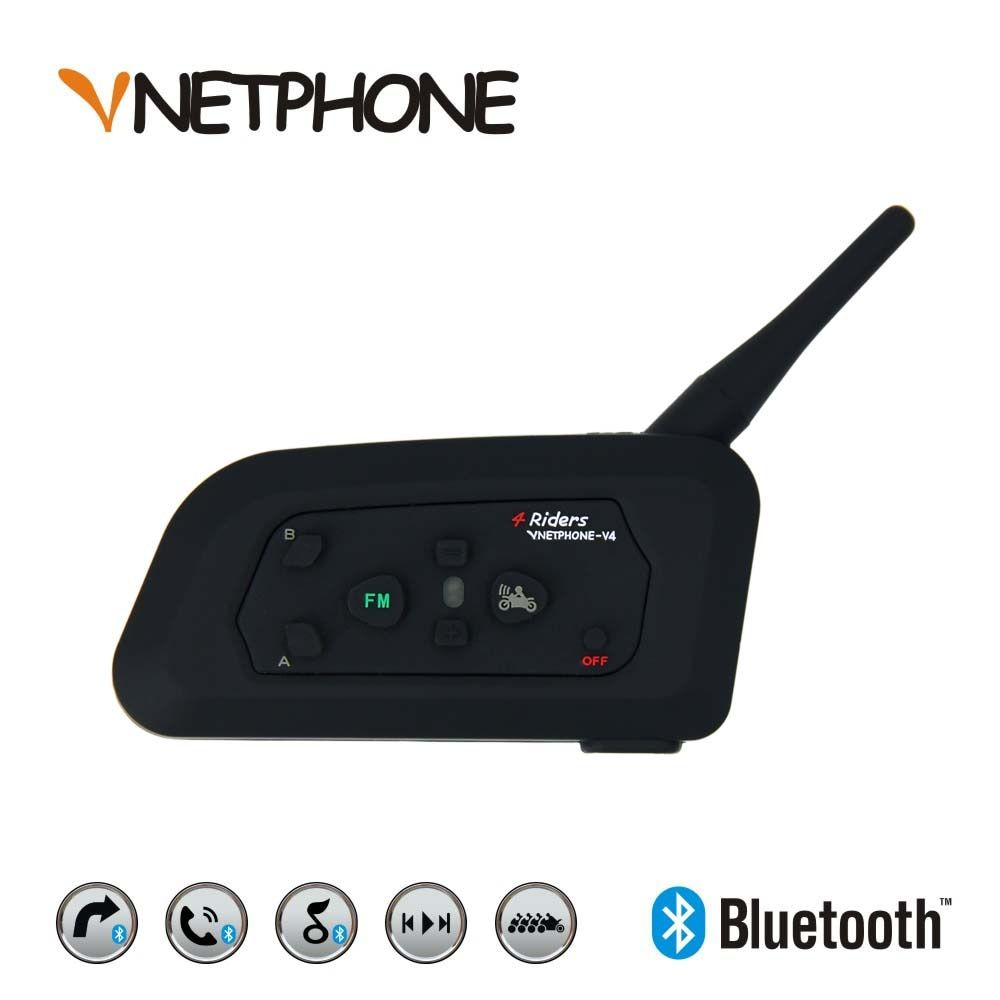 VNETPHONE V4 Motorcycle Accessories Bluetooth Helmet Intercom Headset for 4 Riders Waterproof Support Smartphone FM Radio USB