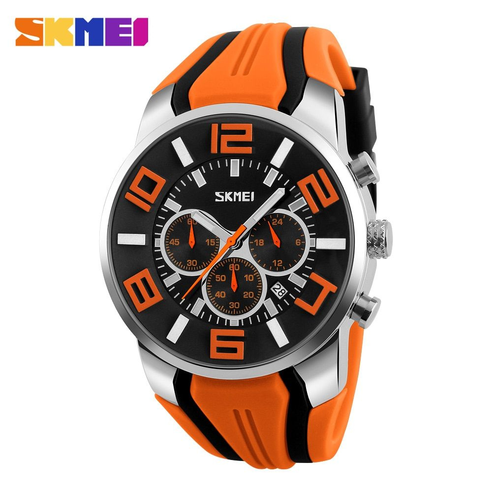 SKMEI New Six Pin Men Quartz <font><b>Analog</b></font> Sport Watch Fashion Casual Stop Watch Date Waterproof Men's Watches Relogio Masculino