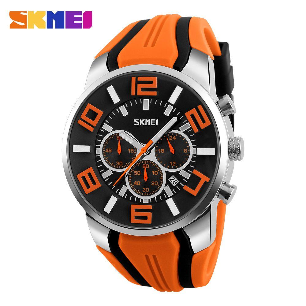 SKMEI New Six Pin Men <font><b>Quartz</b></font> Analog Sport Watch Fashion Casual Stop Watch Date Waterproof Men's Watches Relogio Masculino