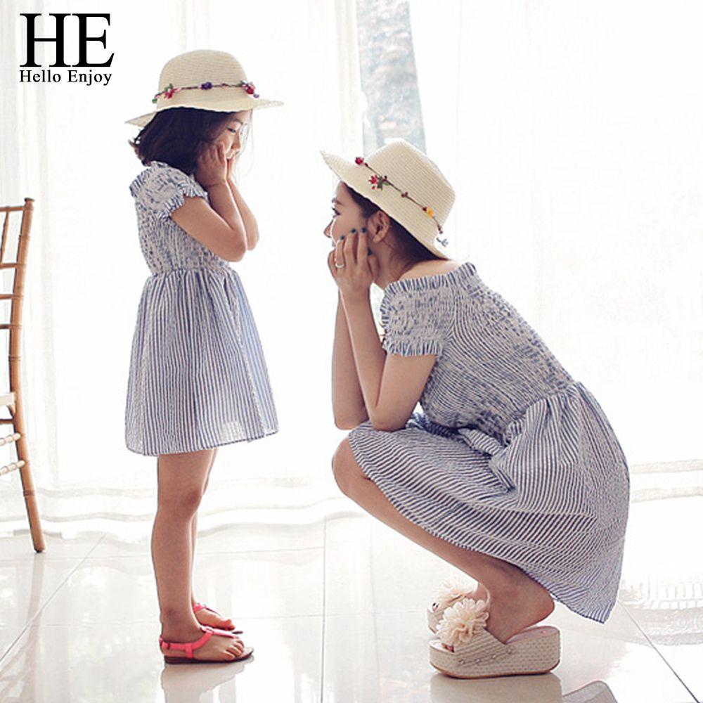 He Hello enjoy/платья для мамы и дочки 2018 одинаковые комплекты для семьи одежда в полоску для семьи Одежда для мамы и дочки дети