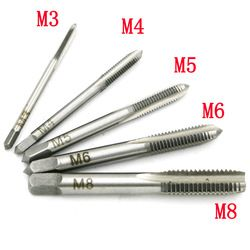Baru 5 PCS/Set HSS M3 M4 M5 M6 M8 Mesin Spiral Titik Lurus Bergalur Screw Thread Metric Plug Tap Tangan bor
