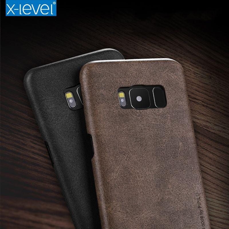 X-level Pour Samsung S8 Étui De Luxe Ultra Mince Rétro En Cuir TPU Silicone Téléphone étui pour Samsung S6 S7 bord S8 Plus Housse