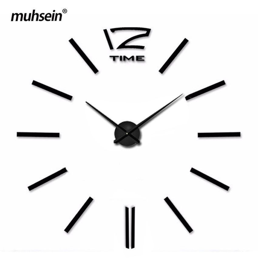 Eva Acrílico Muhsein 2017 Nuevo Envío de La Manera relojes de Metal tamaño grande pegatinas de pared Espejo de Pared Decoración Del Hogar reloj