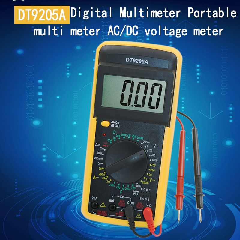 DT9205A AC DC LCD Display Professional Electric Handheld Tester Meter Digital Multimeter