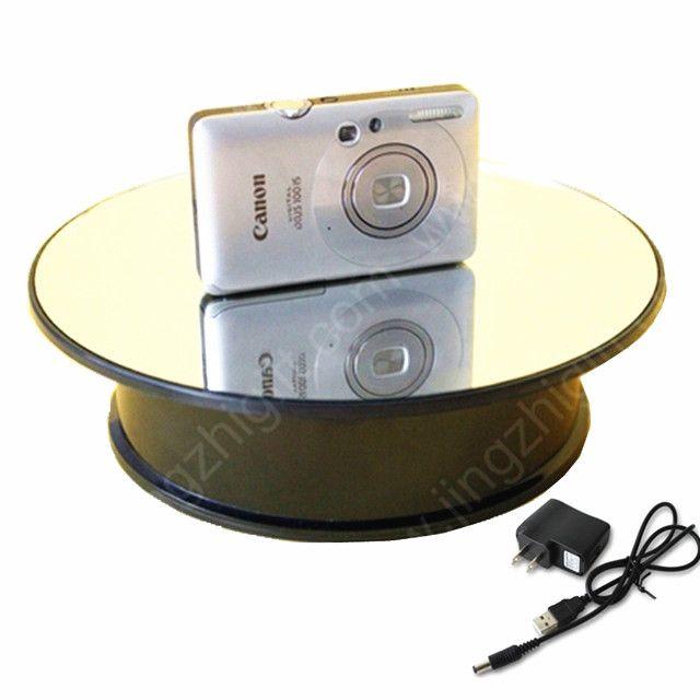 20 cm Espejo De Cristal de Alta velocidad a baja velocidad Superior Giratoria Giradiscos Mostrar Holder Para Reloj de La Joyería Soporte de Exhibición Rotatorio Eléctrico cámara
