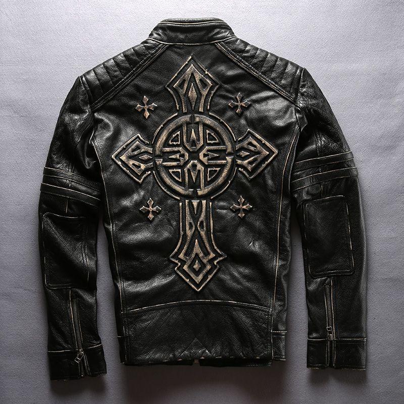 men's cow leather mens clothing coat cowhide genuine leather vintage rider jacket