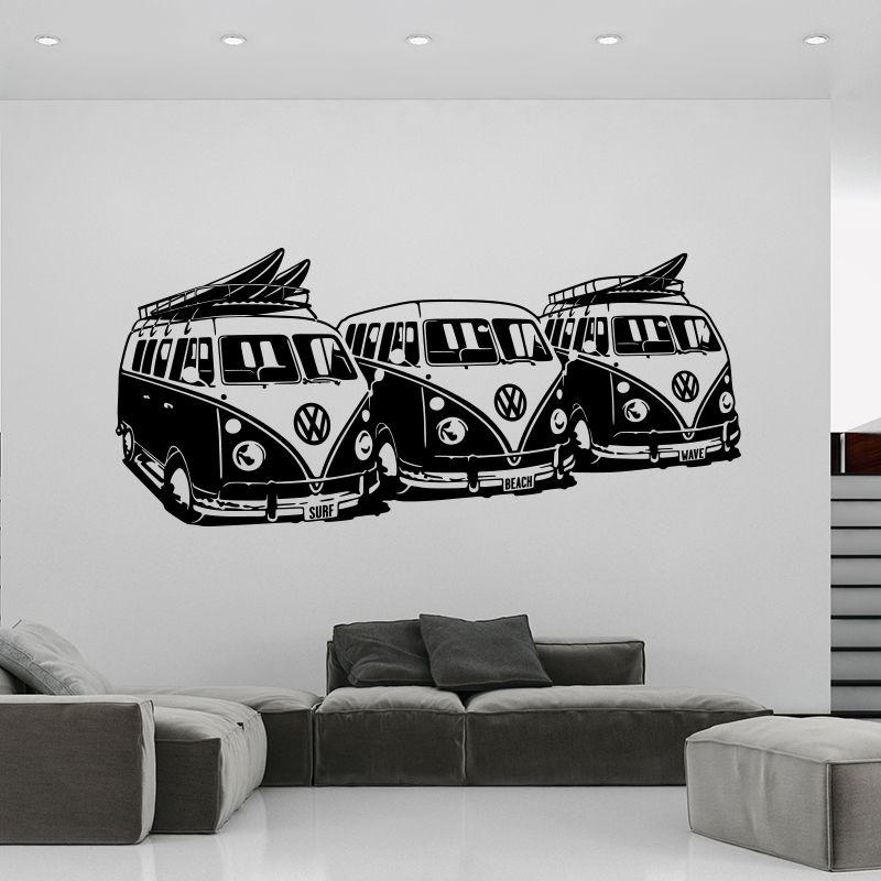 Art Design Mur Autocollant 3 Volkswagen Surf Camionnettes Décor À La Maison DIY De Voiture Stickers Muraux Maison Décoration Murale