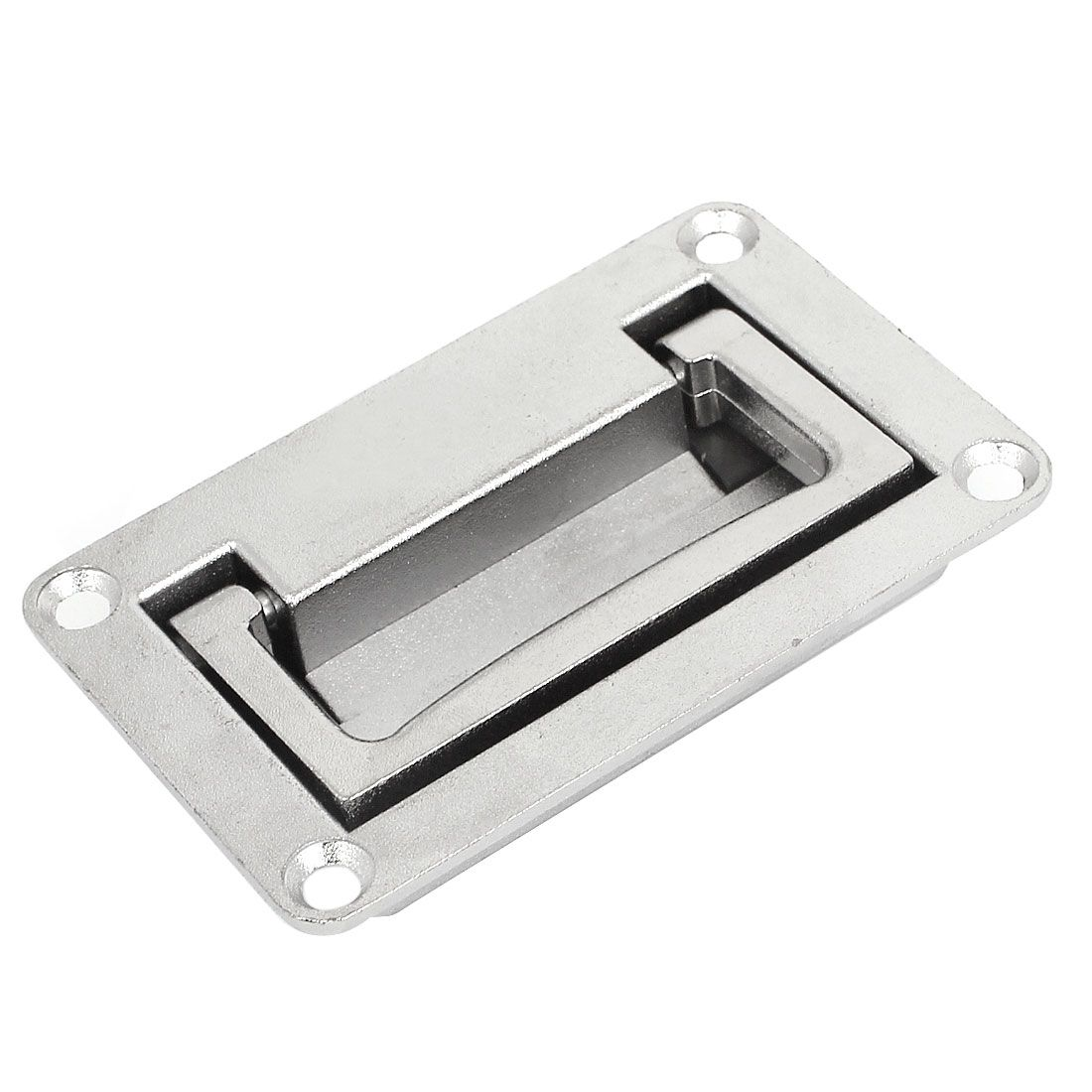 UXCELL Cupboard Cabinet Rectangle Shaped Recessed Folding Pull Handle Grip 9.5 x 6x 1.7cm Silver Tone for Home Furniture, Window