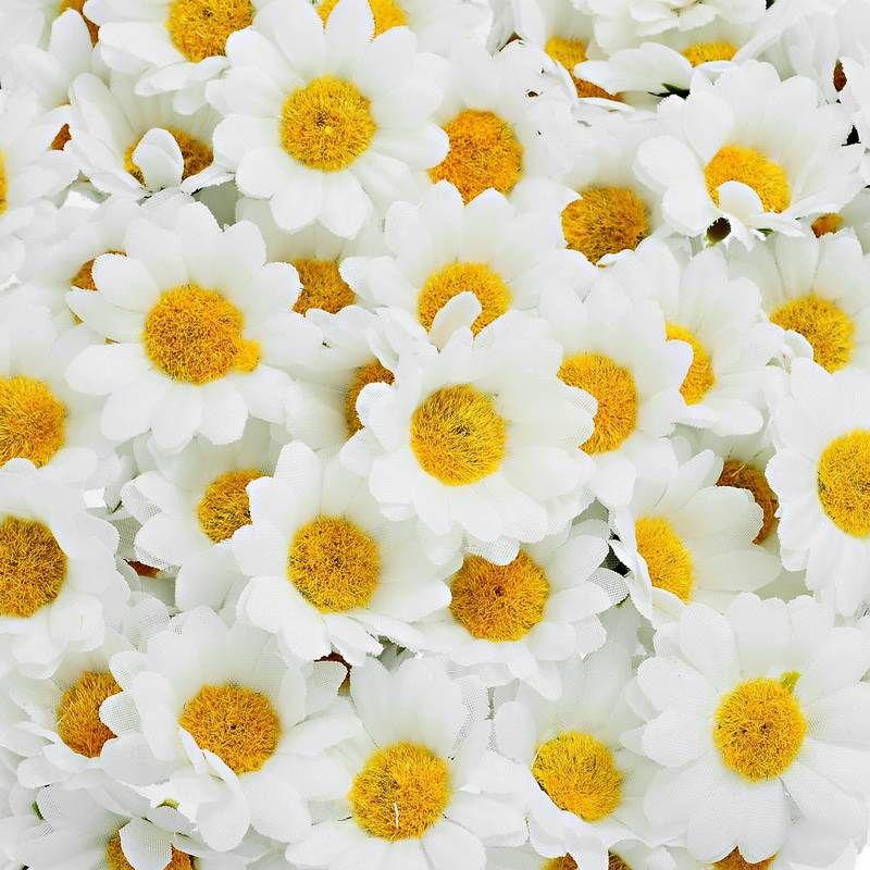 FUNIQUE 100PCs Artificial Flowers Party Wedding Home Flowers For Decoration Silk Mini White Daisy Flower(without stem) 4cm