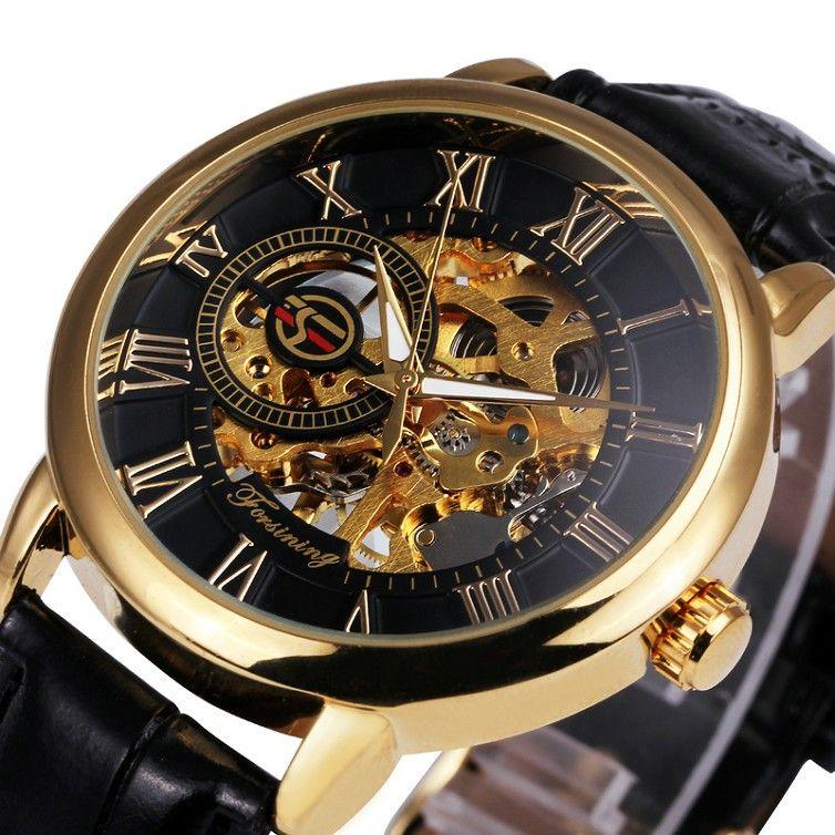 FORSINING 3d Logo Design Hollow Engraving Black Gold Case Skeleton Mechanical Men Watches Heren Leather Strap Heren Horloge