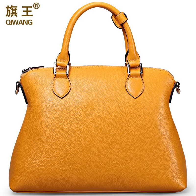 Qiwang Large Yellow Handbags Amazon Shop Hot Sales Nice Leather Hand Bag Litchi Pebble Top Layer Cowide Original Bag Big