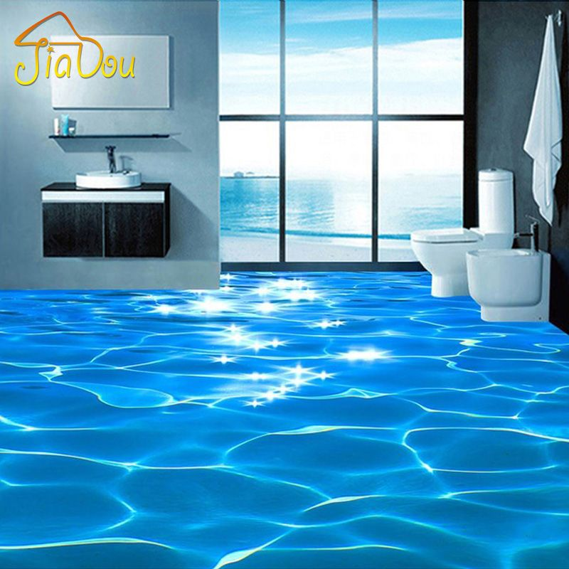 Custom Photo Floor Wallpaper 3D Sea Water Ripples Hotel Bathroom Mural PVC Wallpaper Self-adhesive Waterproof Floor Wallpaper