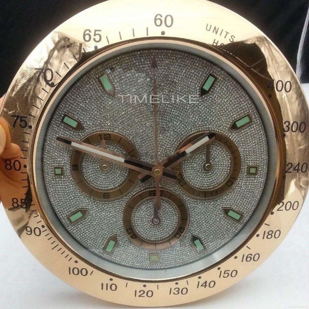 Luxury Metal Wall Clock Watch Shape Wall Clock With Diamond Dial