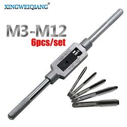 6 pcs 3F Tangan Screw Thread Metric Plug Tap Set M3 M4 M5 M6 M8 dengan Adjustable Wrench Tap 1/16-1/4