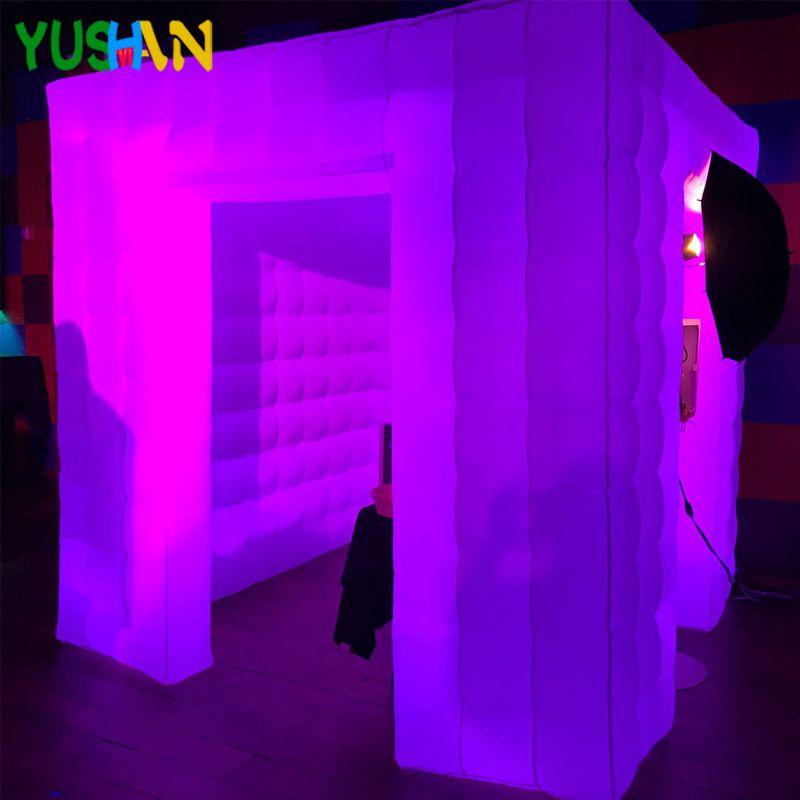 8ft Benutzerdefinierte tragbare Aufblasbare photo booth hintergrund stand mit whole Led streifen Aufblasbaren Würfel zelt hochzeit für partei dekoration