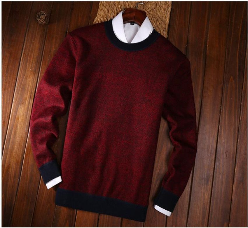 Hot men's solid color plus velvet sweater fashion casual sweater