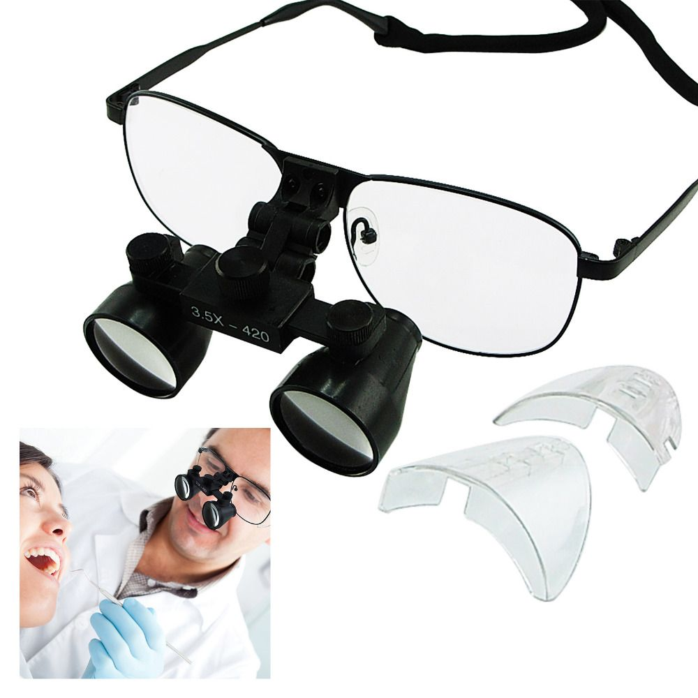 Surgical Medical 3.5x Magnification Power Galilean Style Dental Loupes Titanium Frame 420mm Working distance
