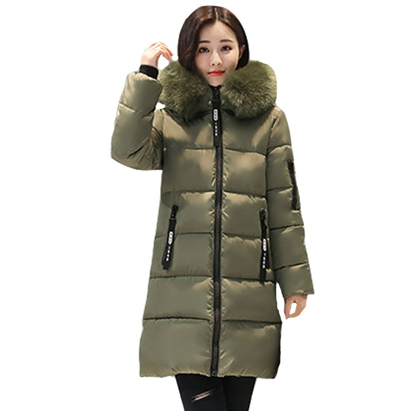 New Winter Women Basic Jacket Hooded Thick Warm Medium long Down Cotton Coat Fashion Long sleeve Slim Big yards Parkas
