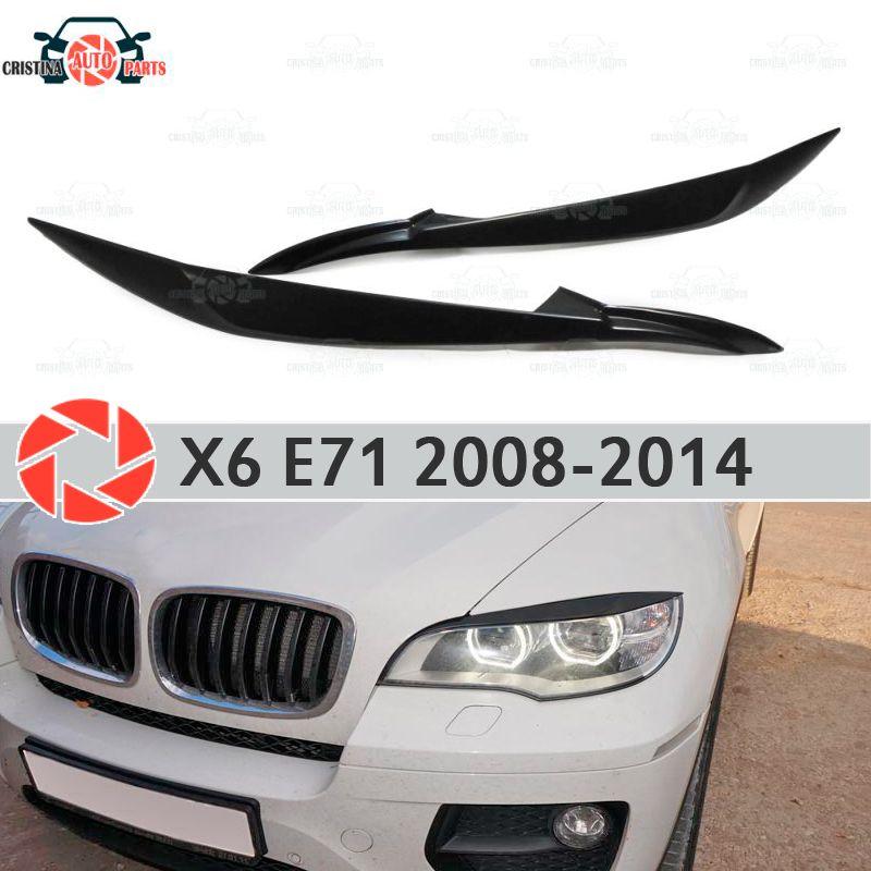 Augenbrauen für BMW X6 E71 2008-2014 für LED scheinwerfer zilien wimpern kunststoff ABS formteile dekoration trim abdeckungen auto styling