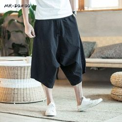 MRDONOO Men Pants Men's Wide Crotch Harem Pants Loose Large Cropped Trousers Wide-legged Bloomers Chinese Style Flaxen Baggy